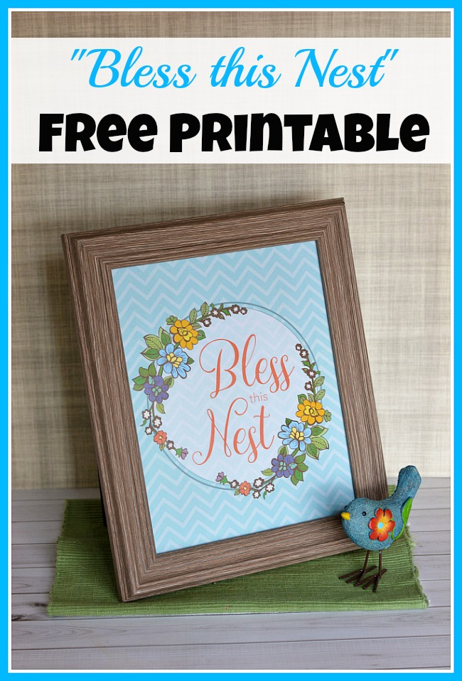"Want to update your home's decor but don't want to spend any money? Then you should download my ""Bless this Nest"" free printable artwork!"