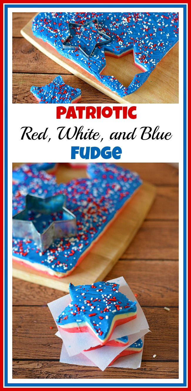 If you need a patriotic dessert to serve at a Memorial Day or Fourth of July party, then you have to make this easy and tasty red, white, and blue fudge!