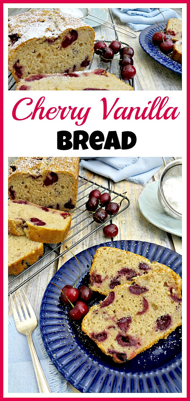 Homemade breads are so tasty! This homemade cherry vanilla bread is especially delicious as it uses fresh cherries! It's very easy to make, too!