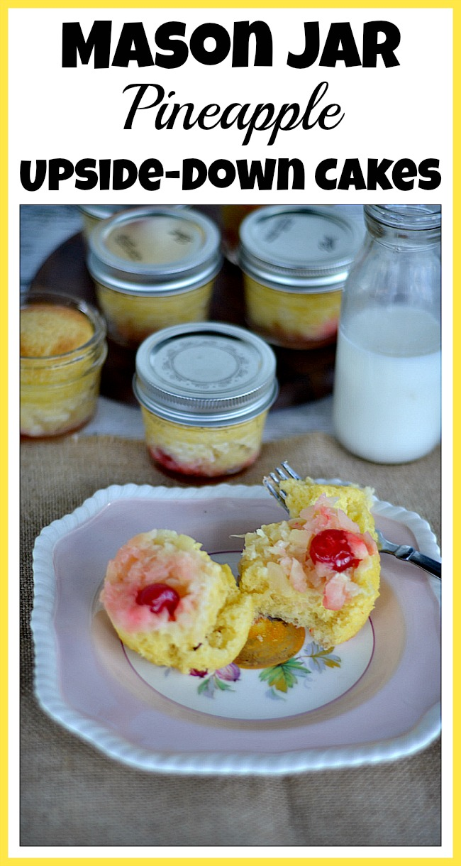 Get just the right amount of a sweet delicious treat with these mini Mason jar pineapple upside-down cakes! These make a great party dessert!