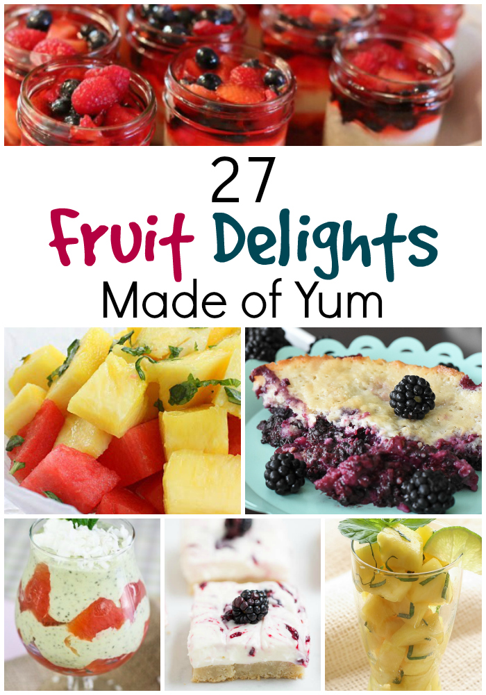 27 Delightful Fruit Recipes- Fresh summer fruit is yummy all on its own, but it is also perfect for creating healthy, delicious recipes. So celebrate the season and try one of these mouthwatering Fruit Recipes!