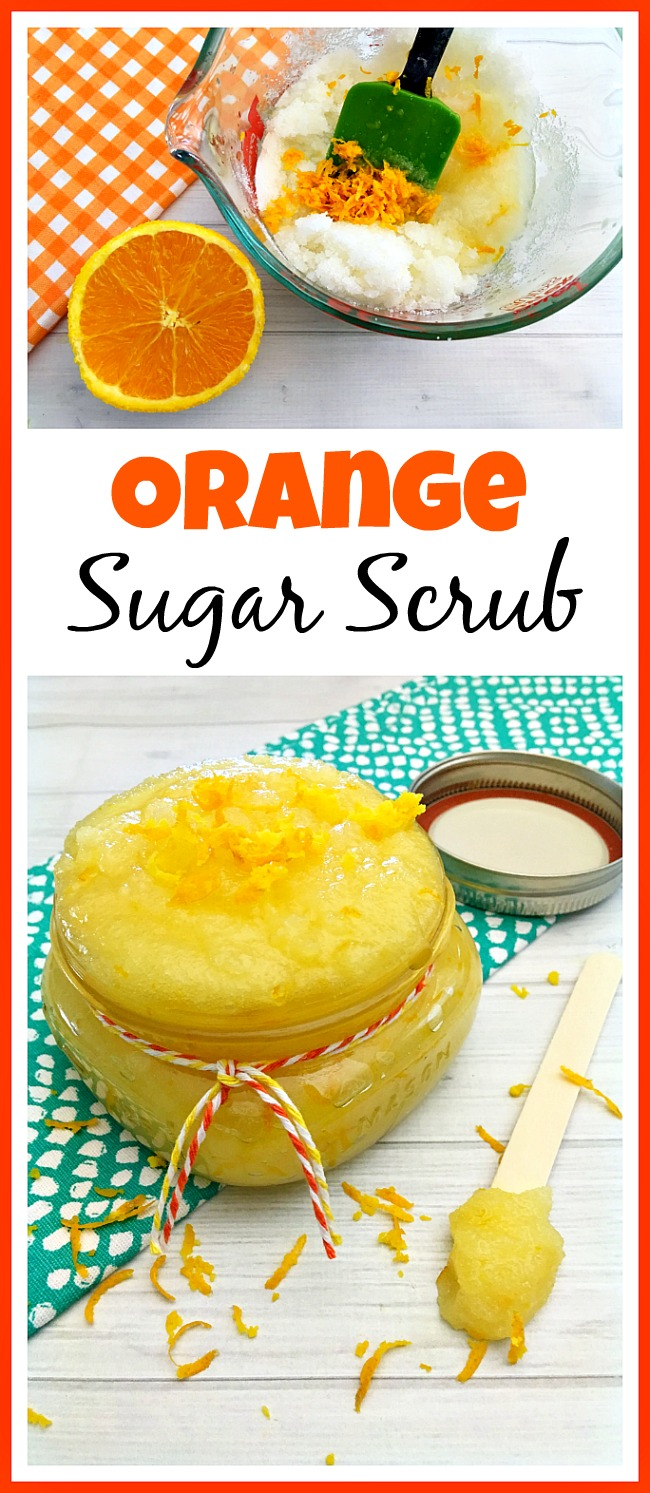 This homemade orange sugar scrub has such a lovely, bright, citrus scent! And the sweet orange essential oil in it is wonderful for your skin!