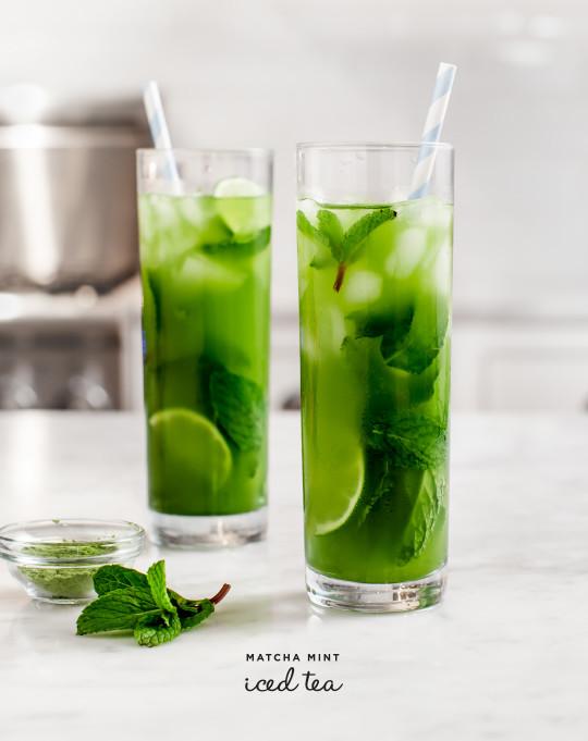 10 Refreshing Flavored Ice Tea Recipes - Matcha Mint Ice Tea