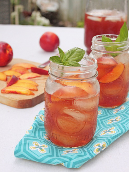 10 Refreshing Flavored Ice Tea Recipes - Nectarine Basil Iced Tea
