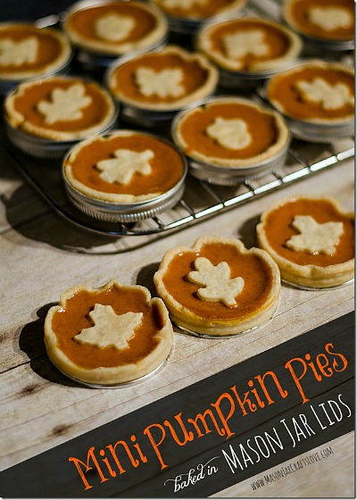 Mini Pumpkin Pies- If you've never tried making Mason jar lid desserts, then you're missing out! They're delicious, and the perfect size for party treats!