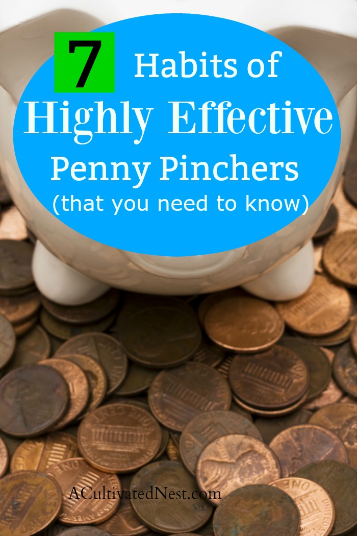 7 Habits of Highly Effective Penny Pinchers - Penny Pinchers achieve their frugal lifestyle by developing habits that save them money and help them live beneath their means. What are these habits exactly? #frugal #thrifty #frugalliving