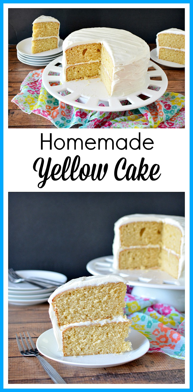 Homemade Yellow Cake- If you want a delicious (and healthier) cake, then skip the box mix and make this delicious homemade yellow cake! | baking, food, dessert, baking cake from scratch, how to make homemade yellow cake, frosted cake