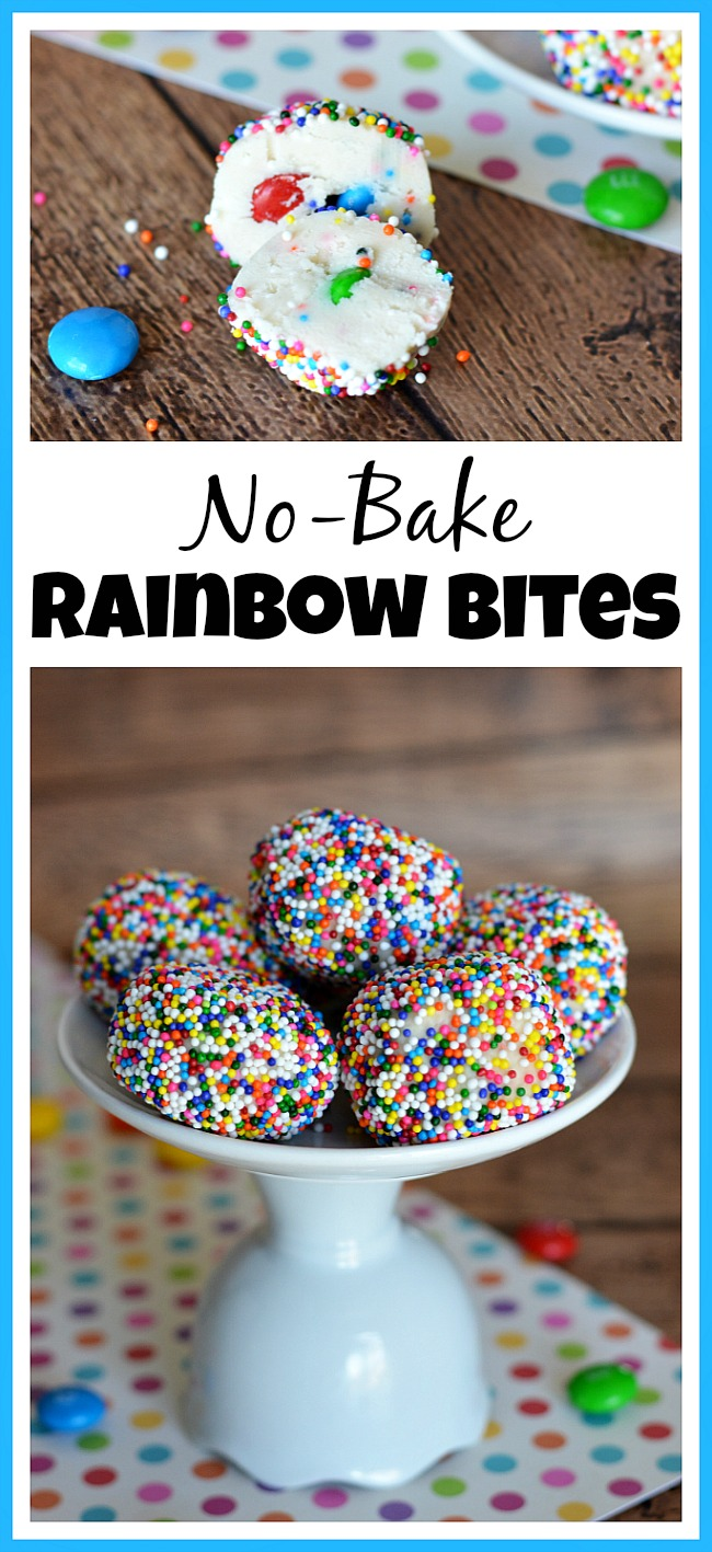 Want a quick, easy and tasty dessert for a party or after-school snack? Then you've got to make a batch of these no-bake rainbow bites!