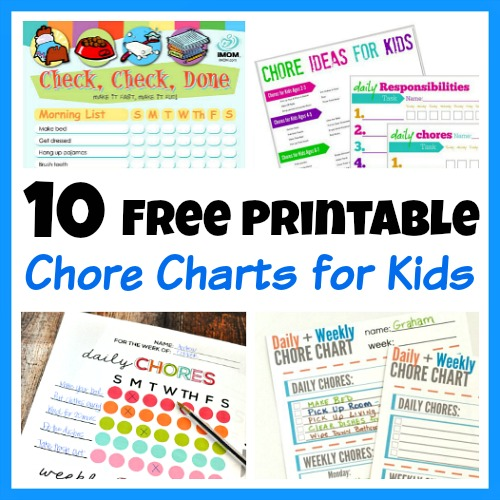 10 Free Printable Chore Charts for Kids- These free printable chore charts for kids will help motivate your kids to finally do their chores! Includes chore charts for kids of all ages! | teach kids to clean, teach kids responsibility, age-appropriate chores for kids #printable #freePrintable #parenting #kids