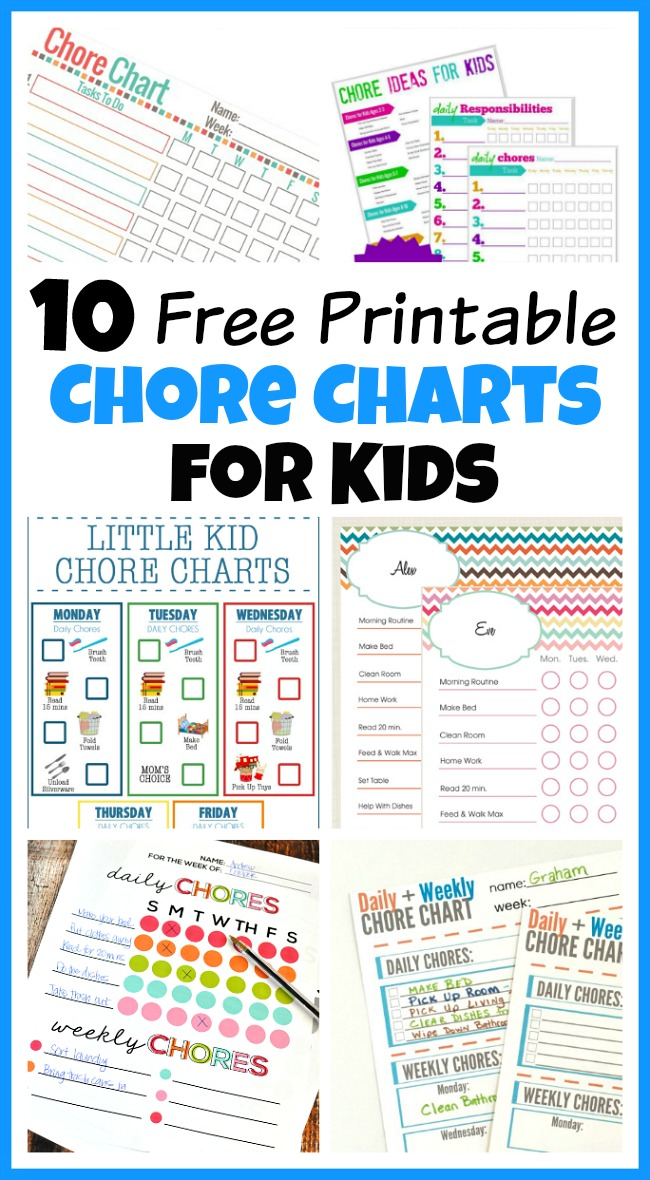graphic relating to Printable Chore Cards titled 10 No cost Printable Chore Charts for Small children