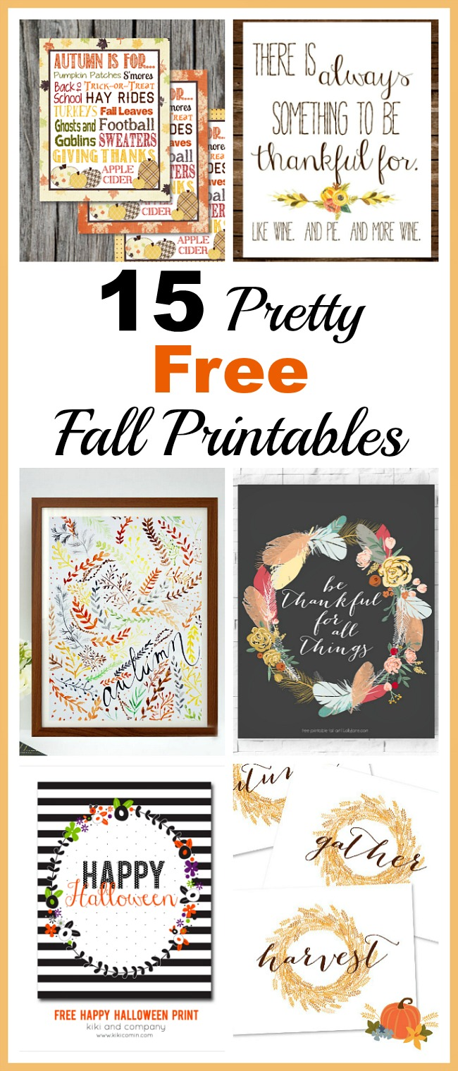 15 Pretty Free Fall Printables