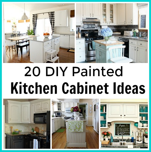 Lots of great DIY Painted Kitchen Cabinet tutorials! Everything you want to know about how to paint your kitchen cabinets!