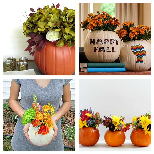 20 Beautiful DIY Pumpkin Flower Centerpieces- Want a unique and beautiful vase for your fall decor or to use as a fall table centerpiece? Then you've got to make one of these DIY pumpkin flower vases! | #DIY #pumpkin #fall #decor #craft #vase #flowerVase #autumn #decorating #DIYProject #ACultivatedNest