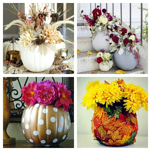 The Best Pumpkin Flower Vase Tutorials- Want a unique and beautiful vase for your fall decor or to use as a fall table centerpiece? Then you've got to make one of these DIY pumpkin flower vases! | #DIY #pumpkin #fall #decor #craft #vase #flowerVase #autumn #decorating #DIYProject #ACultivatedNest