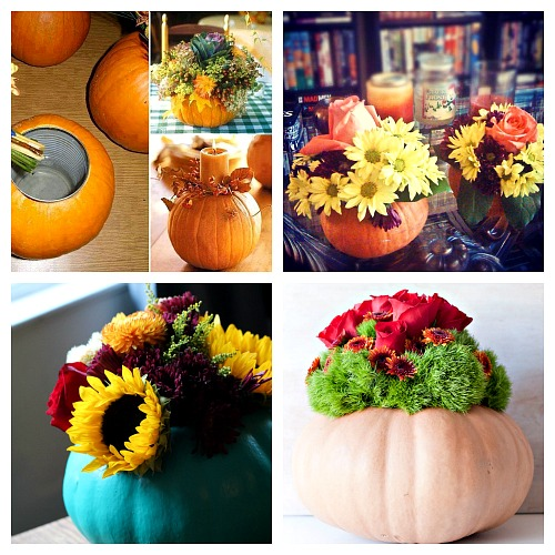 DIY Fall Pumpkin Flower Vases- Want a unique and beautiful vase for your fall decor or to use as a fall table centerpiece? Then you've got to make one of these DIY pumpkin flower vases! | #DIY #pumpkin #fall #decor #craft #vase #flowerVase #autumn #decorating #DIYProject #ACultivatedNest