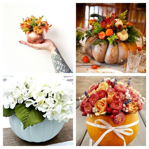 20 Beautiful DIY Pumpkins with Flowers- Want a unique and beautiful vase for your fall decor or to use as a fall table centerpiece? Then you've got to make one of these DIY pumpkin flower vases! | #DIY #pumpkin #fall #decor #craft #vase #flowerVase #autumn #decorating #DIYProject #ACultivatedNest