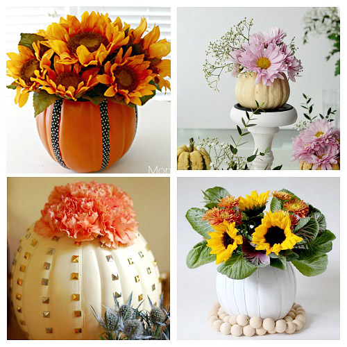 How to Make Your Own Pumpkin Flower Vase- Want a unique and beautiful vase for your fall decor or to use as a fall table centerpiece? Then you've got to make one of these DIY pumpkin flower vases! | #DIY #pumpkin #fall #decor #craft #vase #flowerVase #autumn #decorating #DIYProject #ACultivatedNest