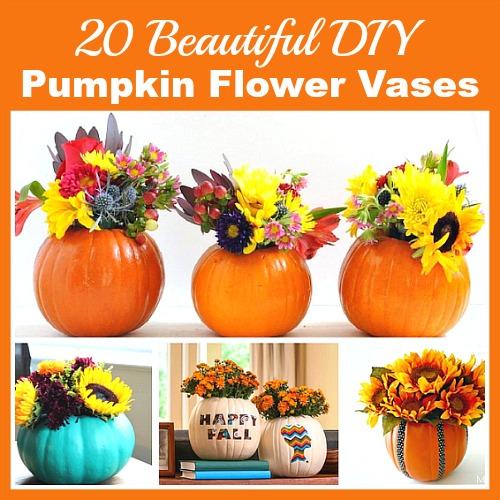 20 Beautiful DIY Pumpkin Flower Vases- Want a unique and beautiful vase for your fall decor or to use as a fall table centerpiece? Then you've got to make one of these DIY pumpkin flower vases! | #DIY #pumpkin #fall #decor #craft #vase #flowerVase #autumn #decorating #DIYProject #ACultivatedNest