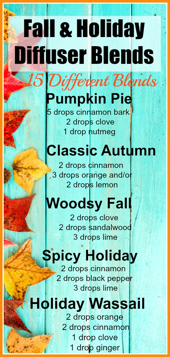 15 Fall & Holiday Diffuser Blends - Make your home smell delicious with the Best Fall & Holiday Diffuser Blends. Spicy warm smells, essential oils, fall scents, Christmas Diffuser Blends, Autumn scents, #EssentialOils #Fall