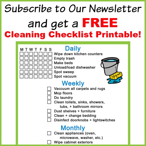 Free Cleaning Checklist with Newsletter Subscription