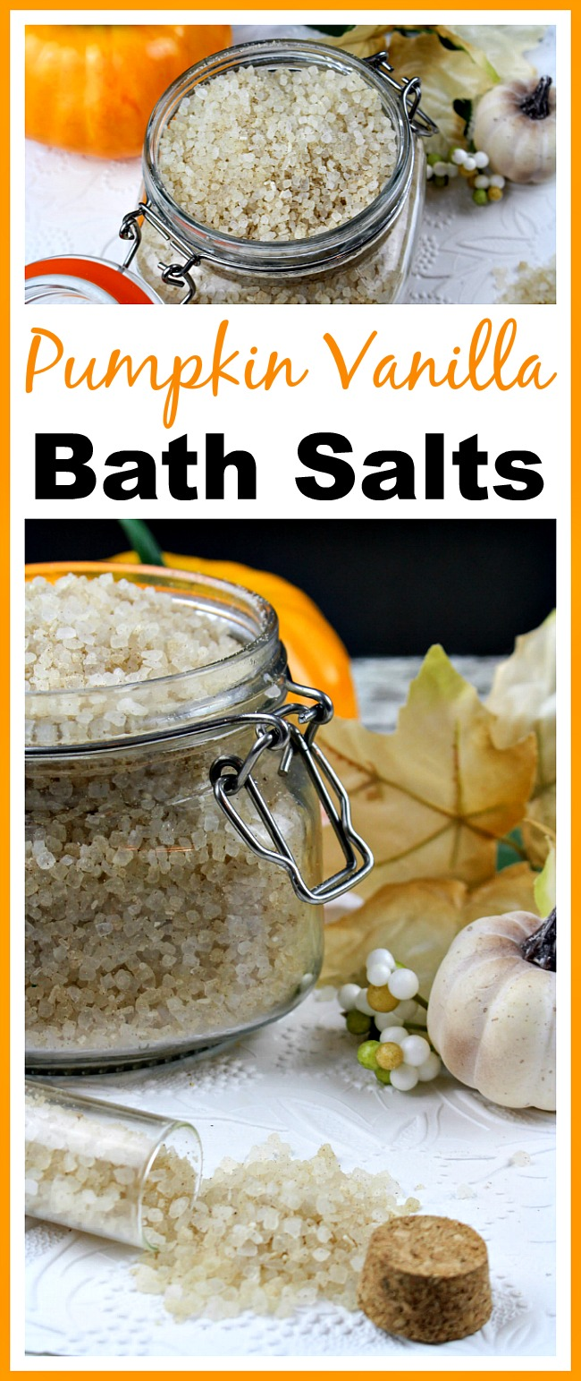 These pumpkin vanilla bath salts help relax tired muscles, and they have a great fall smell, too! Add them to a hot bath and you'll be relaxed in minutes!