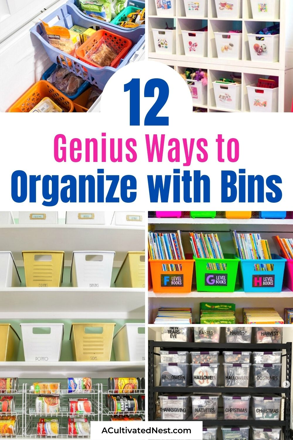 12 Clever Ways to Organize Your Home with Bins- If you want to make your home neat and tidy on a budget, you should try bins! Here are some great examples of home organization using bins to get you inspired!   #organization #organizingTips #homeOrganizing #organize #ACultivatedNest