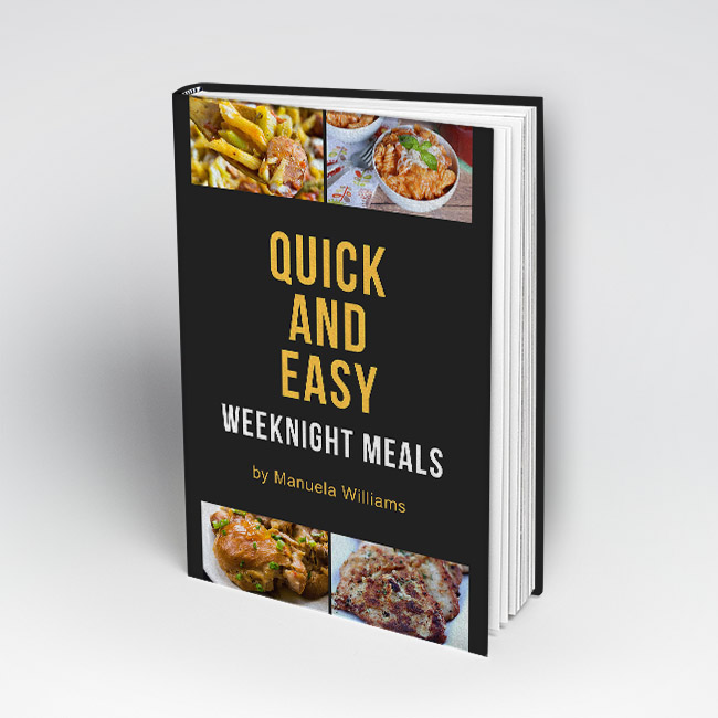 Quick and easy weeknight meals have never been easier to manage! Stop spending time scouring the web for weeknight dinner ideas, and check out these fast, easy, kid-friendly, and delicious recipes that the entire family will love. | book, ebook, Kindle book, cook book, recipe book, kid-friendly dinners, easy dinner ideas, #recipes