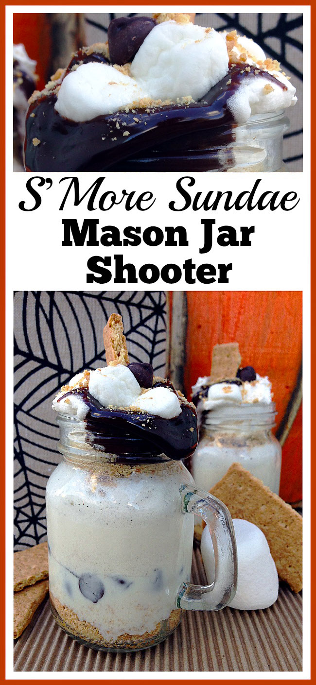 This S'More sundae Mason jar shooter is an easy to make (and delicious) drink dessert! It's a great treat for a backyard campout, or just because!