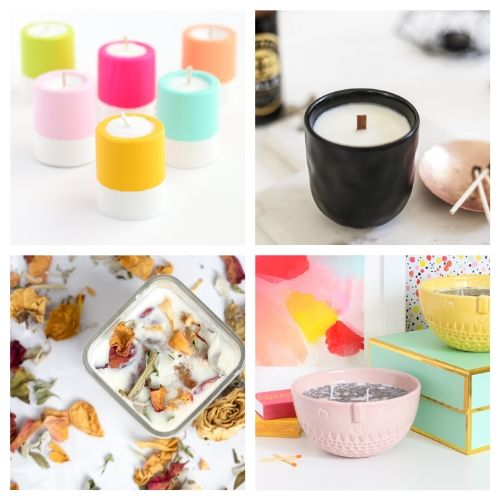 20 Beautiful Homemade Candle DIY Projects- DIY candles make great homemade gifts for family and friends! These DIY candle tutorials are easy, inexpensive, and a lot of fun! | how to make candles, DIY gift ideas, homemade gift ideas, #diyCandles #DIY #candles #crafts #ACultivatedNest