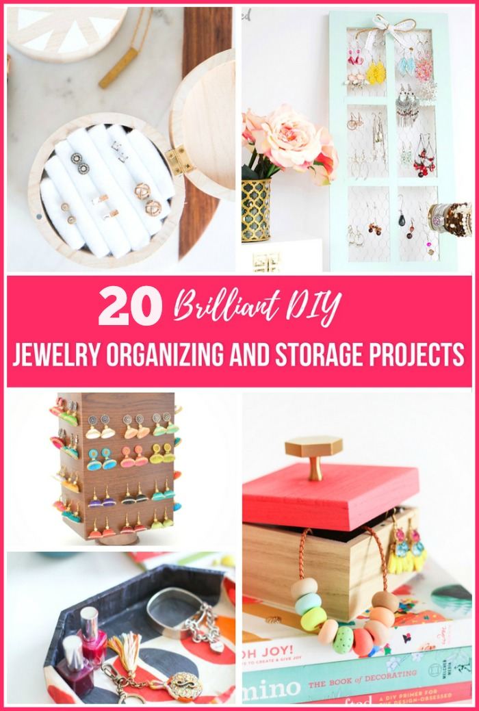 20 DIY Jewelry Organizing & Storage Projects - Tired of having a tangled mess of necklaces and earrings? Then you need to check out these 20 brilliant DIY jewelry organizing projects for some great jewelry storage solutions! | how to make your own jewelry organizers, clever ways to organize your jewelry, organizing tips, organizing ideas, #DIY #organization #jewelry #organizing #diyProject #necklaces #rings #bracelets #ACultivatedNest