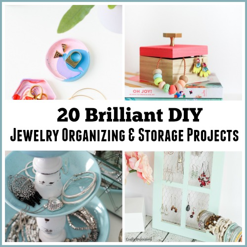20 DIY Jewelry Organizing & Storage Projects - Tired of having a tangled mess of necklaces and earrings? Maybe your jewelry is spread all over your dresser like mine. This is why I looked all over the Internet for ways to keep my jewelry organized and I found so many brilliant ideas that I had to share them with you.Check out these 20 Brilliant DIY Jewelry Organizing Projects for some great jewelry storage solutions! | organizing tips | organizing ideas