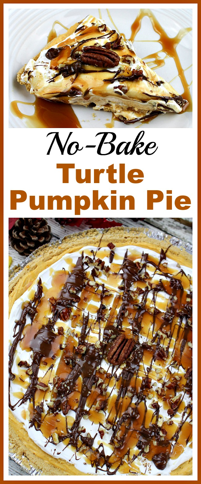 Make preparing for Thanksgiving less stressful with this easy no-bake turtle pumpkin pie! It's quick to put together, but tastes delicious!