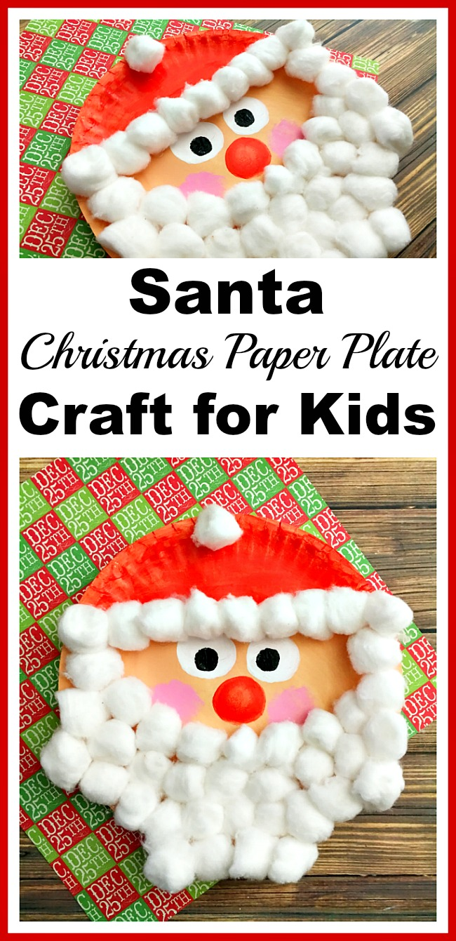 Santa Christmas Paper Plate Craft for Kids