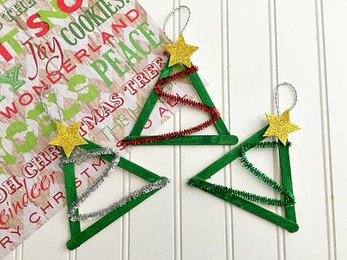 Christmas Tree Popsicle Stick Craft DIY Ornament