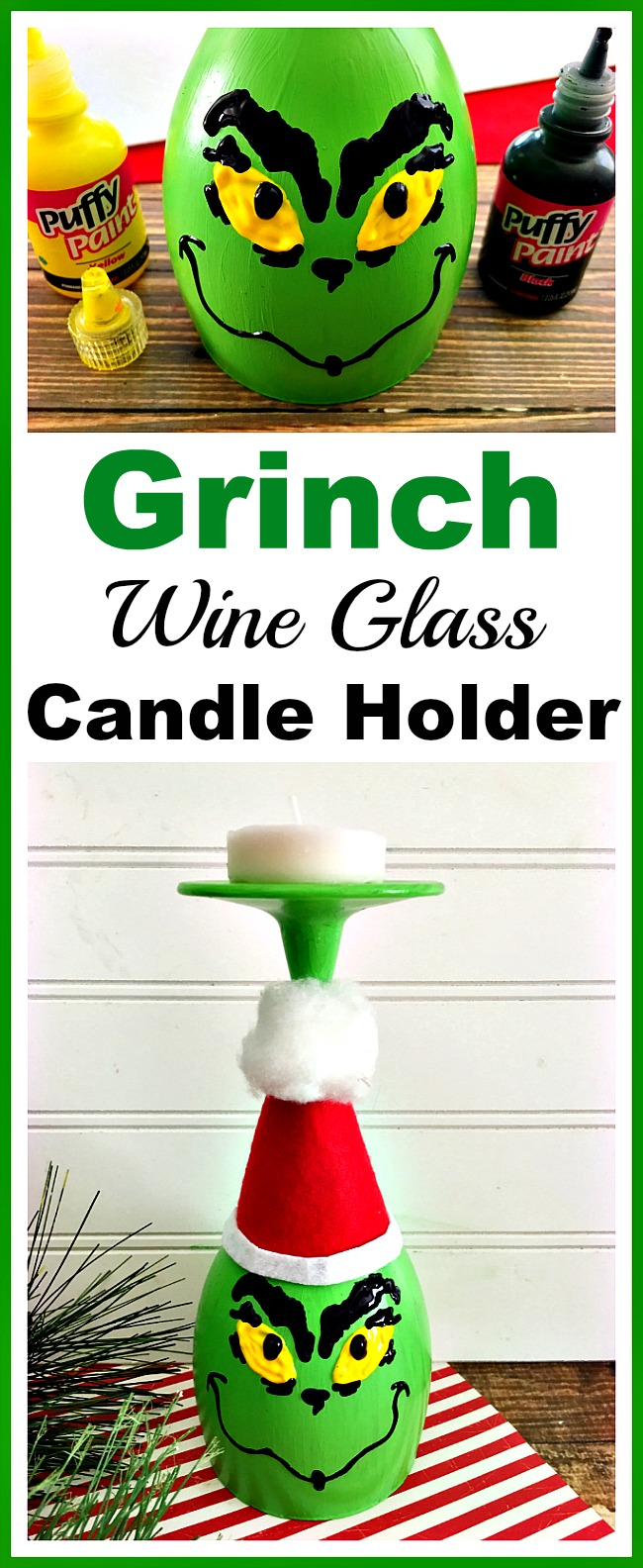 This DIY Grinch wine glass candle holder is a fun, easy and frugal holiday craft! It would also make a great holiday kids activity!
