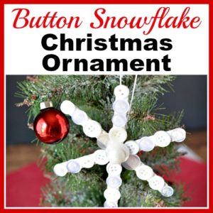 Popsicle Stick Button Snowflake- Homemade Christmas Tree Ornament