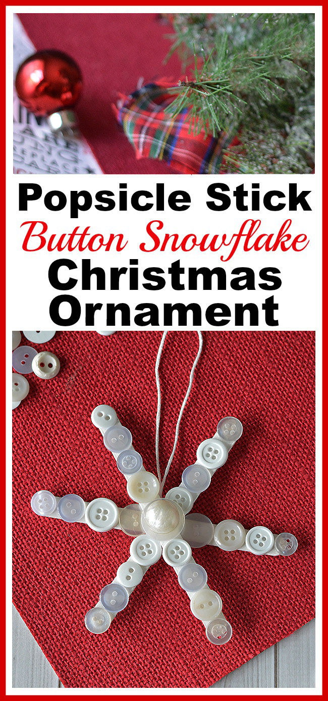Popsicle Stick Button Snowflake- This homemade Christmas tree ornament is so fun to make, and easy to customize! This year, add this cute DIY popsicle stick button snowflake to your tree! | diy Christmas ornament, Christmas craft, homemade Christmas ornament ideas