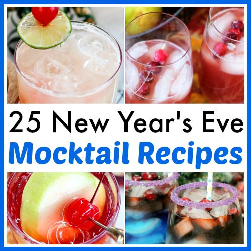 25 Delicious New Year's Eve Mocktail Recipes- Have a fun, family-friendly New Year's Eve party with some of these delicious New Year's Eve mocktail recipes! | homemade drink, New Year's drink, non-alcoholic drink, kid-friendly, New Year's Eve, #nonAlcoholic #mocktail #homemadeDrinks #NewYears #ACultivatedNest