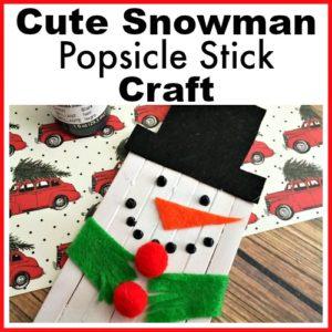 Cute Snowman Popsicle Stick Craft