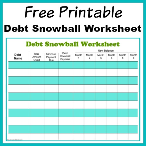 Free Printable Debt Payoff Worksheet! Debt Snowball Worksheet Free Printable- Perhaps the best way to pay down your debt is with the debt snowball method! Use my free printable debt snowball worksheet to get started! | debt snowball worksheet printable, paying down debt, debt free, debt repayment, budgeting, frugal living