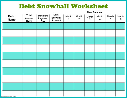 Debt Snowball Free Debt Payoff Worksheet- Perhaps the best way to pay down your debt is with the debt snowball method! Use my free printable debt snowball worksheet to get started! | paying down debt, debt free, debt repayment, budgeting, frugal living