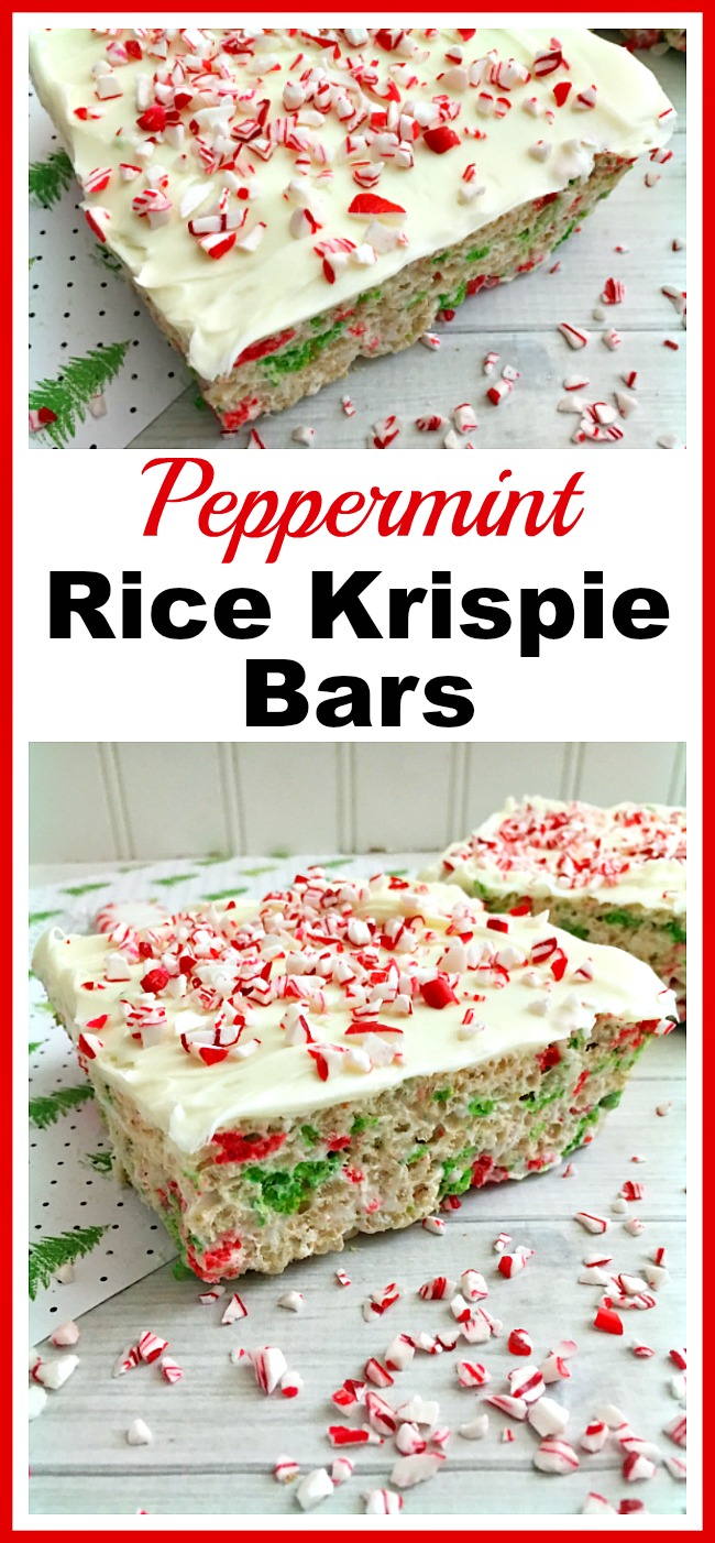 Peppermint Rice Krispie Bars