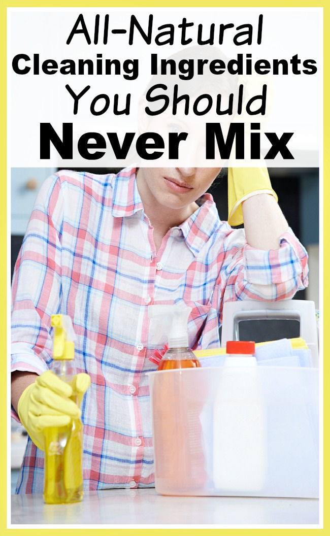 All-Natural Cleaning Ingredients You Should Never Mix- Making your own homemade cleaners can be a great way to save money. But there are several cleaning ingredients you should never mix if you want to be safe! | homemade cleaner, DIY cleaner, cleaning tips, cleaning safety, household cleaner, eco-friendly cleaner, natural cleaning tips