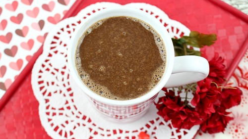 Chocolate Cherry Hot Cocoa- This chocolate cherry hot cocoa is easy to make, and so delicious! It'd make a lovely drink treat for Valentine's Day, Mother's Day, a birthday, or any day! | hot chocolate, drink recipe, hot drinks, Valentine's Day drink, Mother's Day drink, hearts, love, cherries