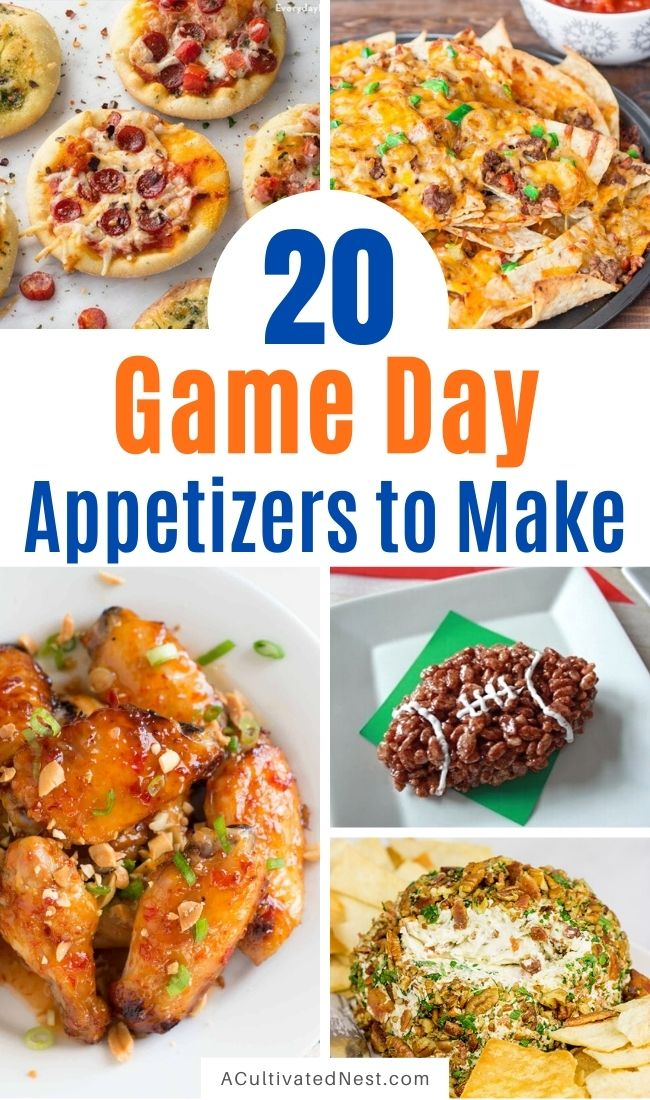 20 Creative and Easy To Make Game Day Appetizer Ideas- These delicious game watch party appetizers are perfect for feeding a crowd! You definitely have to include some of these appetizers in your next game day menu! | #recipes #appetizers #gameDayRecipes #gameDay #ACultivatedNest