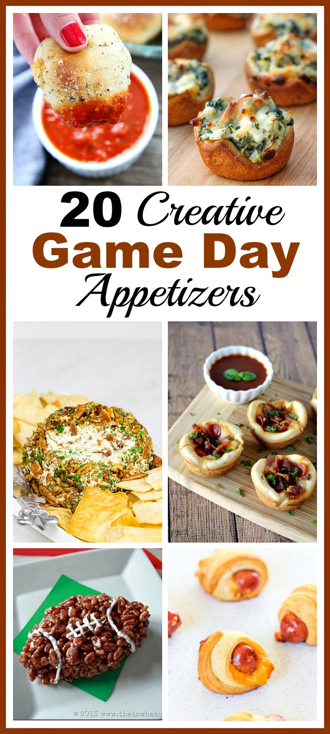 20 Creative and Easy To Make Game Day Appetizer Ideas- Your next sports gathering will be great if you serve a delicious game day appetizer! These would be perfect for a Super Bowl watching party! | recipe, food, quick recipe, easy recipe, football, soccer