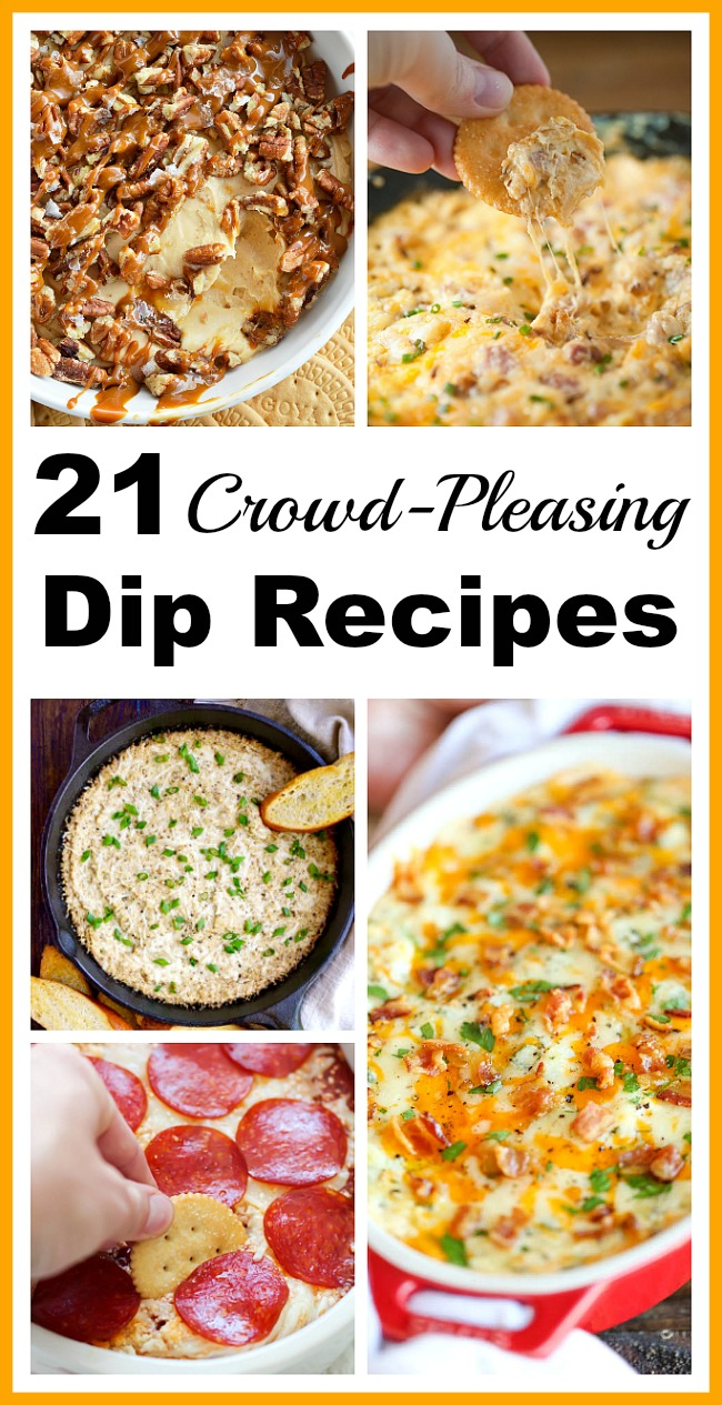 21 Crowd-Pleasing Dip Recipes- Ensure you have a great party by starting it off with one of these crowd-pleasing dip recipes! There are so many to choose from! | appetizers, party food, Super Bowl party, sports party, birthday party