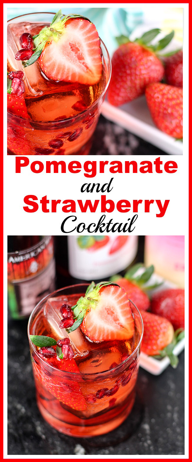 Pomegranate and Strawberry Cocktail- This homemade pomegranate and strawberry cocktail is quick to make and tastes delicious! The recipe also includes a pretty Valentine's Day version! | alcoholic drink, alcohol, homemade drinks, beverage, fresh fruit, strawberries