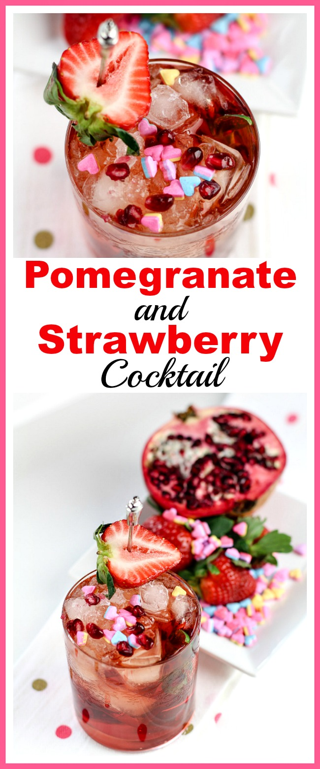Pomegranate and Strawberry Cocktail- This homemade pomegranate and strawberry cocktail is quick to make and tastes delicious! It'd make a lovely drink treat for Valentine's Day, or any day! | alcoholic drink, alcohol, homemade drinks, beverage, fresh fruit, strawberries, hearts, Valentine's Day drink