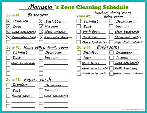 How To Do Zone Cleaning  Free Printable Zone Cleaning Schedule